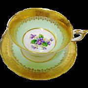 Paragon Gold etch Violets teacup duo
