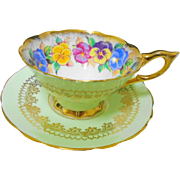 Royal Stafford Pansy Viola Gold teacup duo, Green