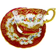 Crown Staffordshire rose wreath teacup duo, Red