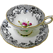 Hammersley Moss Rose Black Vermillion teacup duo
