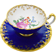 Aynsley large pink rose bouquet cobalt blue tea cup and saucer