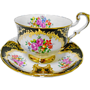 Paragon Black high handle pink rose cluster tea cup and saucer, gold accent teacup