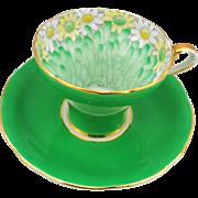 Aynsley daisy chrysanthemum petals corset tea cup and saucer, emerald green gold teacup