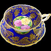Paragon Mums Cobalt teacup duo