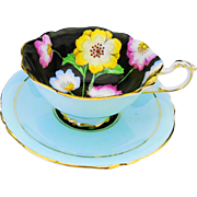 Paragon black hand painted flowers blue duo