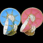 Set of 2 Aynsley Pedestal golden wreath tea cup and saucer