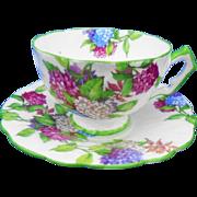 Aynsley Hydrangea crocus teacup duo