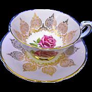 Paragon large pink rose pink mauve teacup duo
