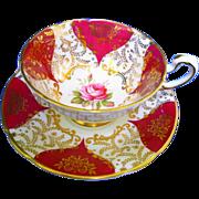 Paragon exquisite rose center red teacup duo