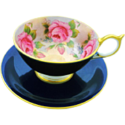 Aynsley Cobalt large pink rose athens teacup duo