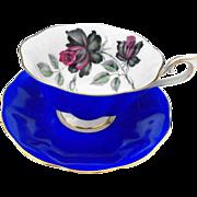 Royal Albert masquerade roses royal blue teacup duo
