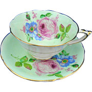 Paragon Large pink rose minty green teacup duo