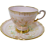 Tuscan blush pink green daisy gold footing teacup duo