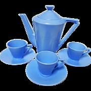 Cauldon wedgwood blue tea service set, coffee pot, demi cup and saucer