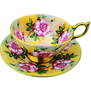 Aynsley Wild pink roses athens teacup duo