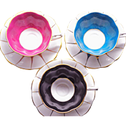 3 Royal Albert White panel colored teacup duo set