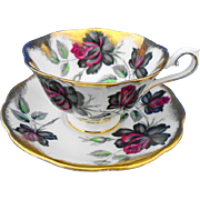 Royal Albert black & red Masquerade large roses tea cup and saucer
