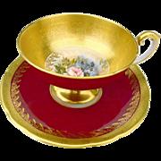 Aynsley Bailey red pedestal teacup duo