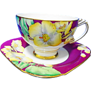 Art Deco Paragon fuchsia teacup duo, yellow pansy