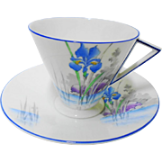 Shelley art deco style Eve floating blue iris duo