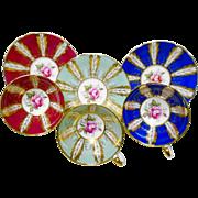 3 Paragon pink rose center feather gold teacup duo set