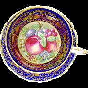 Paragon Harvest Fruit cobalt blue teacup duo, Delicious Autumn!