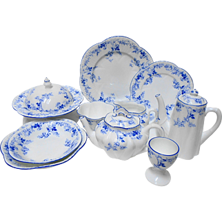 Shelley Dainty blue rose spray Breakfast Set fit for a Queen!