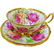 Mayfair Fragrant large rose teacup duo, heavy gold