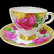 Royal Grafton huge rose splattered gold teacup duo