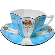 Shelley queen anne turquoise panel fruit teacup duo
