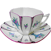 Shelley Pink queen anne vase teacup duo