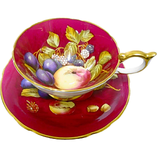 Aynsley fruit athens teacup duo, Bright Red & Signed