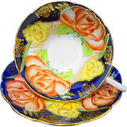 Taylor Kent large orange roses cobalt blue Tea cup and saucer
