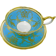 Aynsley athens turquoise teacup duo, gold grape vine