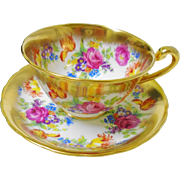 Royal Chelsea pink rose medley teacup duo, thick gold