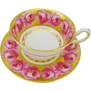 Royal Chelsea exquisite pink roses on bed of gold teacup duo