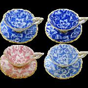 4 Royal Stafford Pastel Tapestry Rose teacup duo set