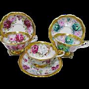 3 Royal Albert Bounty Roses teacup duo set, avon