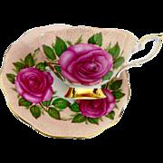 Royal Standard HUGE pink rose teacup duo, Wide Mouth