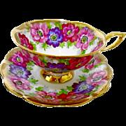 Royal Standard poppy Carmen heavy gold teacup duo, Wide