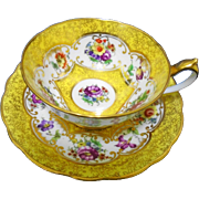 Star Paragon art deco Yellow gold teacup duo, WIDE