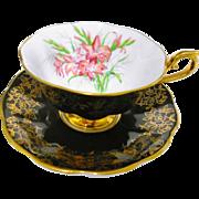 Royal Albert orange gladiola avon teacup duo, black & gold