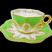 Coalport lime green jeweled gold teacup duo