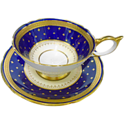 Aynsley golden fleur de lis athens teacup duo, cobalt & gold encrusted border
