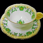 Aynsley hand painted flower handle teacup duo