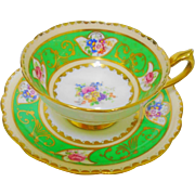 Royal Paragon lime green cartouche teacup duo, gold handle