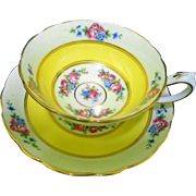 Star Paragon Dresden Pink Rose teacup duo, wide mouth