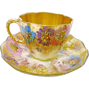 Antique Royal Crown Derby ornate gold tea cup and saucer, c.1891
