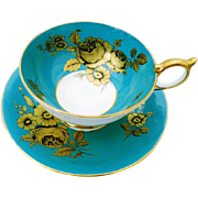 Aynsley golden rose turquoise tea cup and saucer