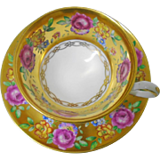 Royal Chelsea Rose & Flowers on bed of gold teacup duo